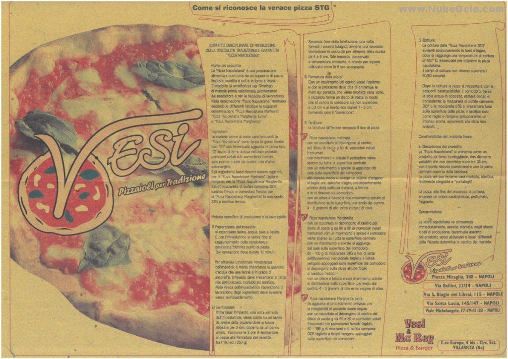 Receta de pizza Napolitana en un mantel de papel