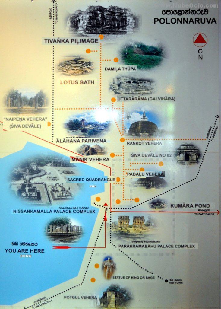 Mapa Polonnaruwa Sri Lanka