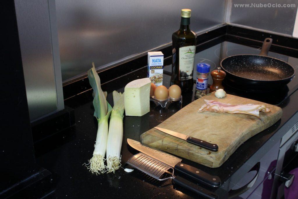 Ingredientes para el relleno de la quiche